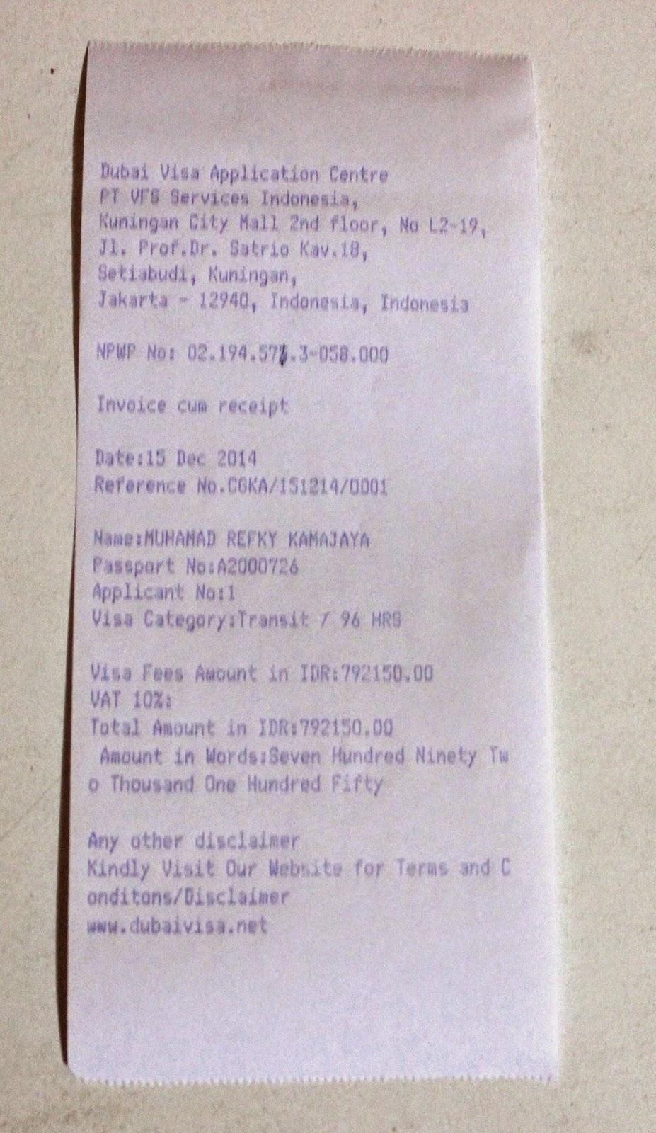 Receipt Paspor Visa UAE Dubai dari VFS Global Jakarta