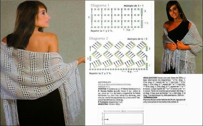 5 Modelos de Chales con sus patrones | Patrones para Crochet
