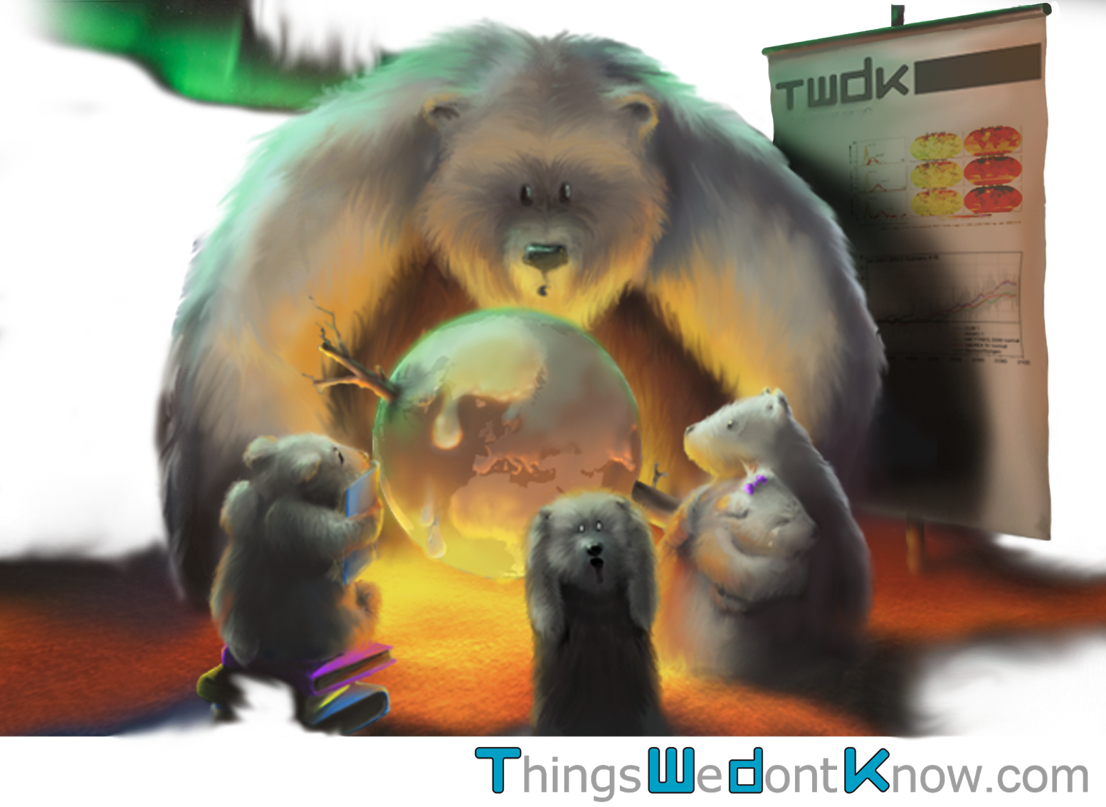 A cartoon showing a school class of polar bears learning about climate change, with a frozen Earth being heated over a fire.