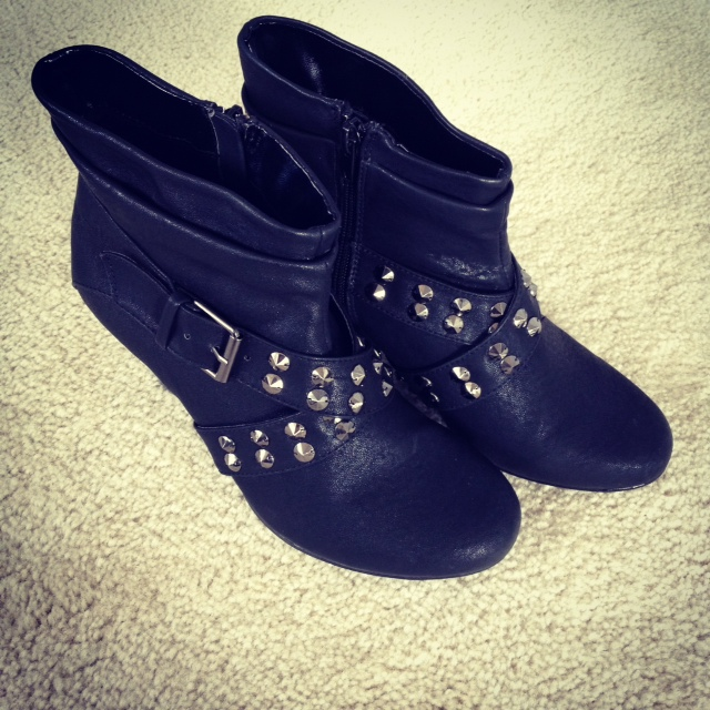 black booties with studs
