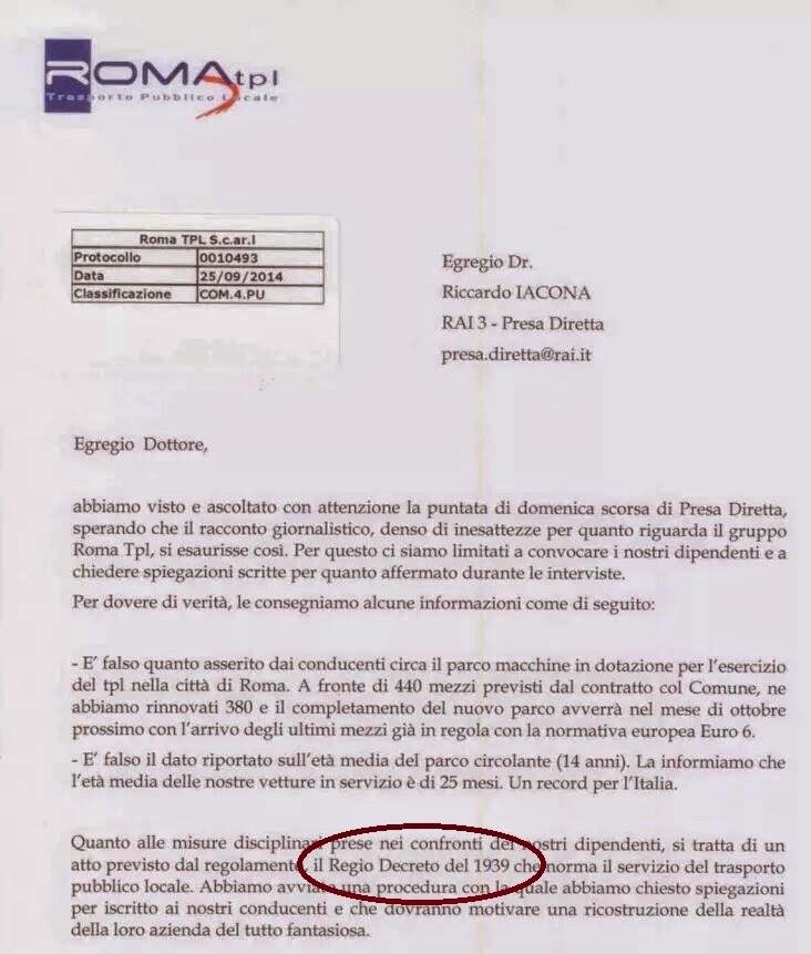 La lettera di Roma TPL a Iacona - Presa diretta