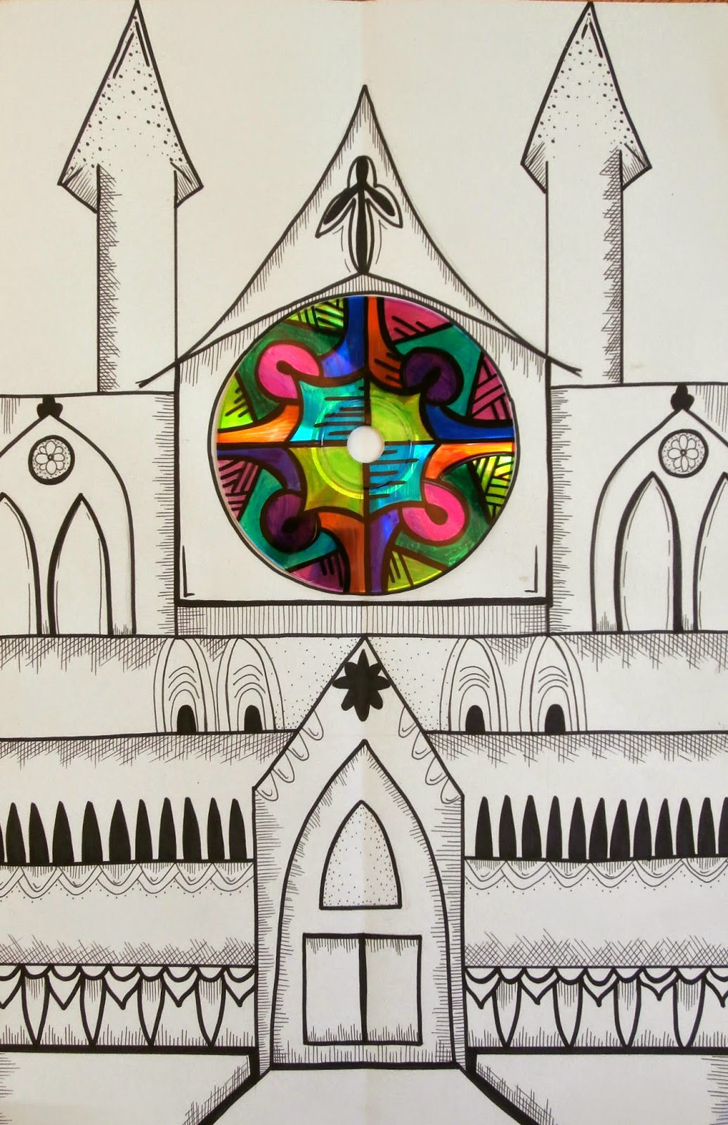 Students Began Drawing Rose Window Designs Onto Their CDs Once Details Were Added To The Cathedral Drawings With This Part Of Lesson