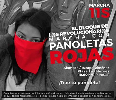 SANTIAGO: MARCHA 11 DE SEPTIEMBRE, EL BLOQUE DE L@S REVOLUCIONAR@S