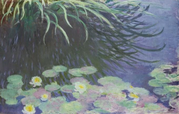 Claude Monet Nimpheas avec reflets dehautes herbes.