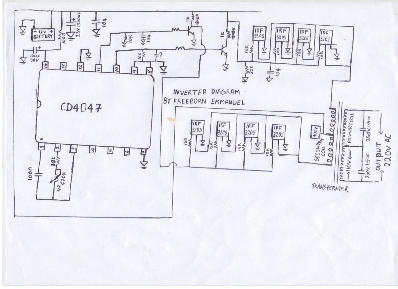 House Wiring Diagram With Inverter : How to build an inverter watts circuit diagram
