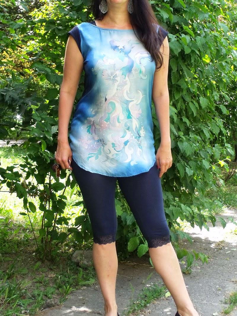 Selyem blúz, felső, tunika, alkalmi ruha selyemből, selyemfestéssel