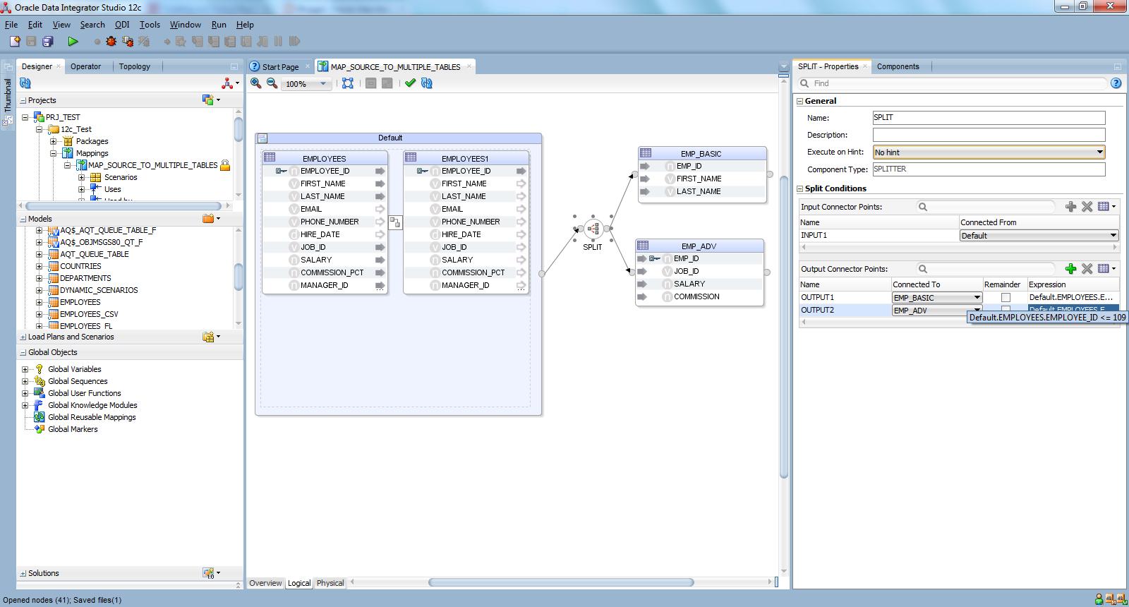 Oracle data integrator tutorials employeeid greater than 109 goes to empadv table baditri Gallery