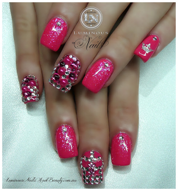 white tip nail design with glitter