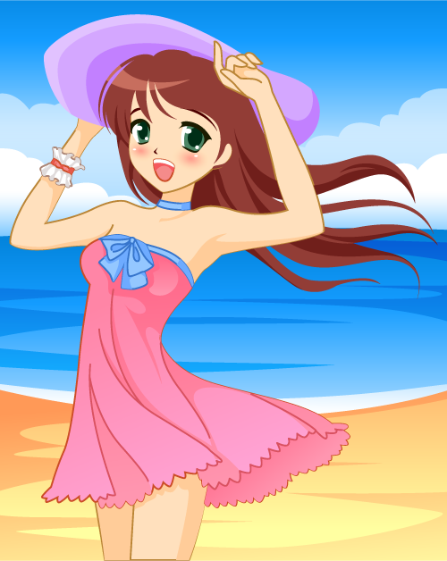 muchacha manga en la playa - vector