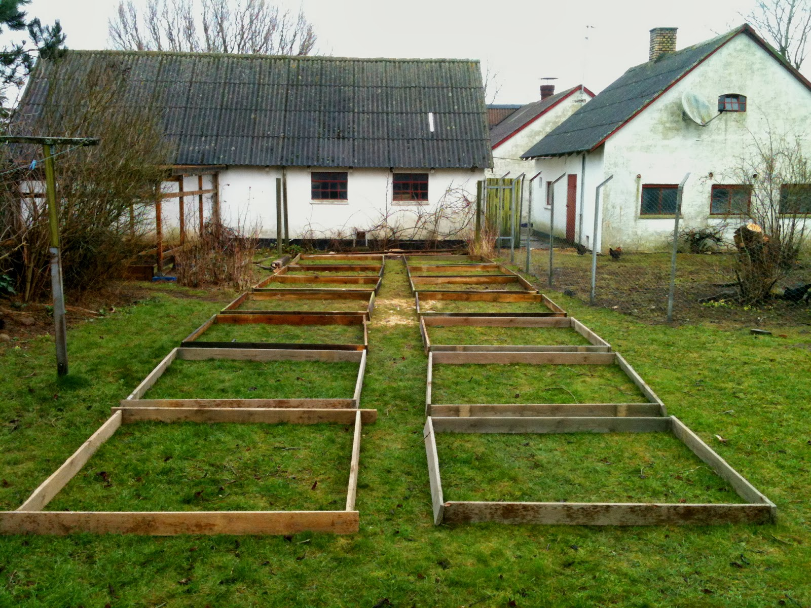 I am making 16 raised beds, each is 2 square meters. I will simply lay newspapers and cardboard on top of the grass and then a 15cm thick layer of compost ...