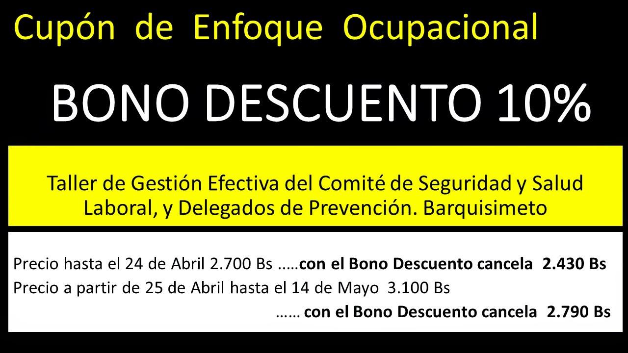 Bono, Descuento, Curso de Enfoque Ocupacional, Taller