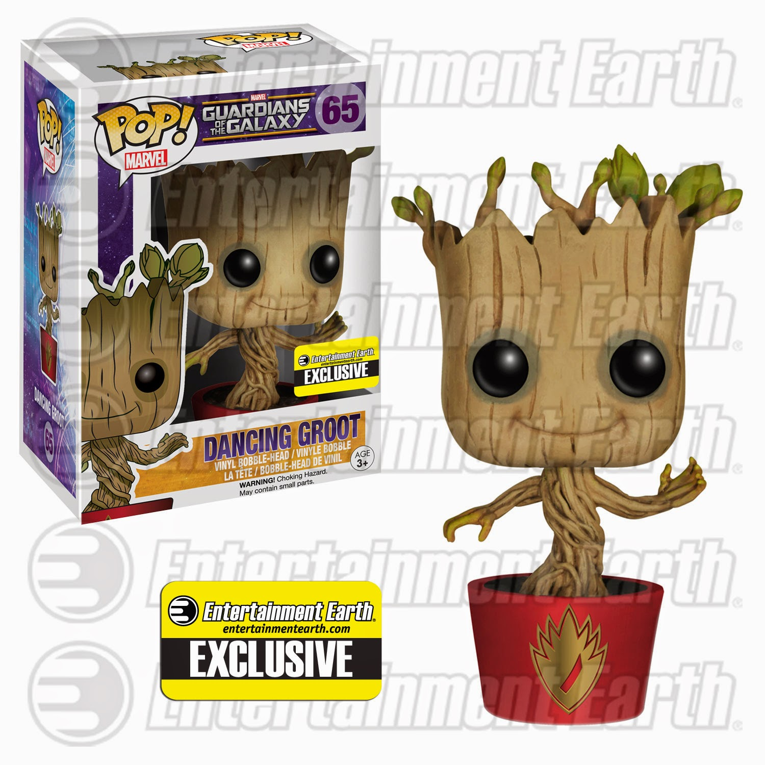"Entertainment Earth Exclusive ""Ravagers Logo"" Dancing Groot Guardians of the Galaxy Pop! Marvel Vinyl Figure by Funko"