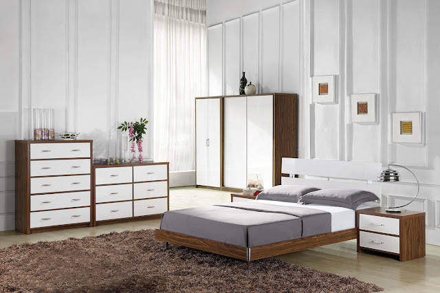 Madilena walnut and white high gloss bedroom furniture