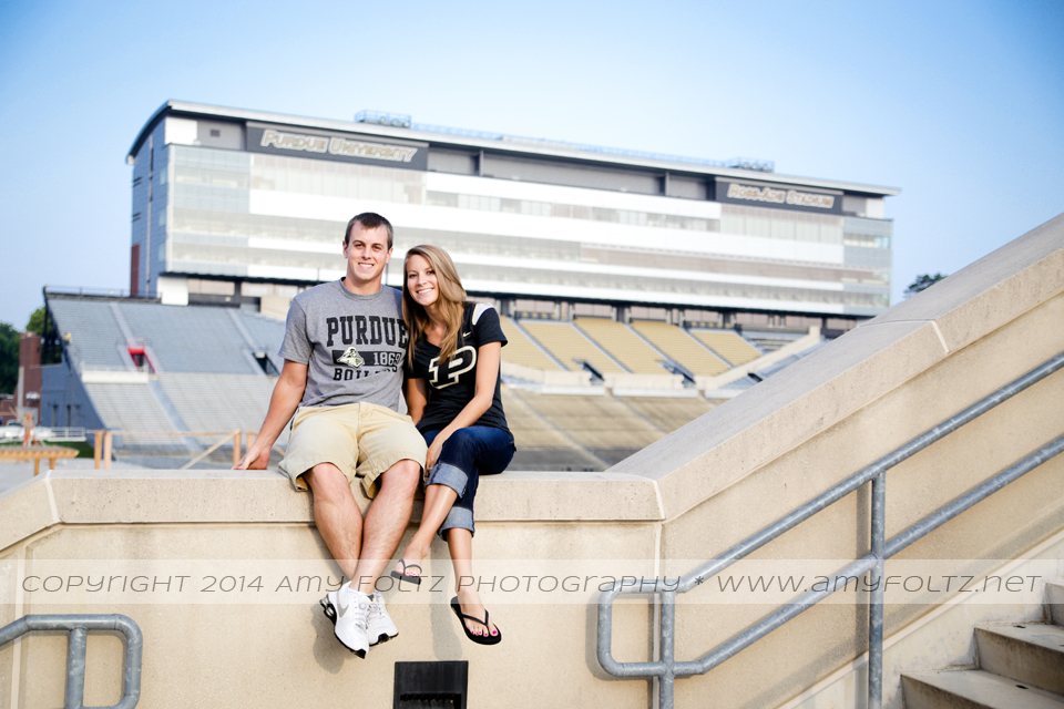 engagement photo at Ross-Ade Stadium at Purdue University in West Lafayette Indiana