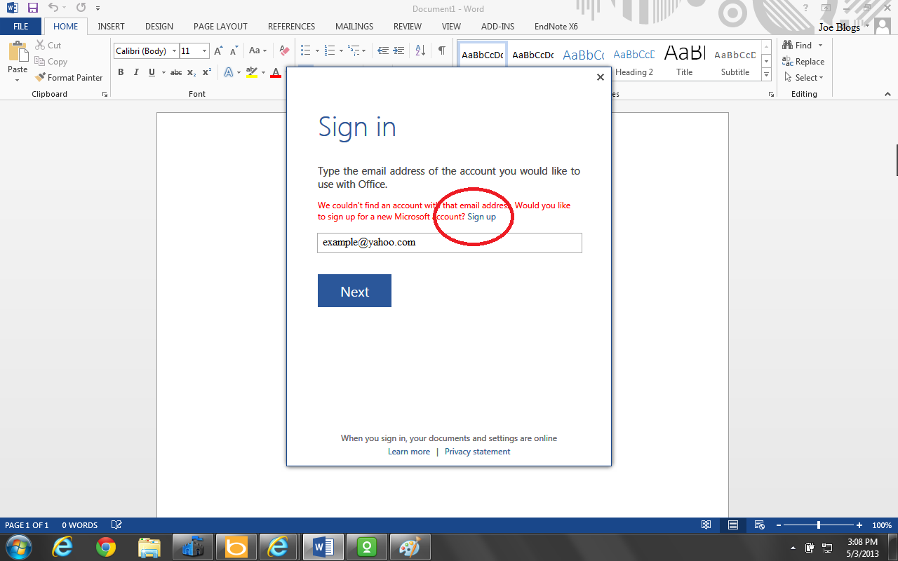 If You Are Already Registered User, Then Type Your Email Address In The  Text Box If Your Email Is Not Registered With Microsoft Skydrive Cloud,