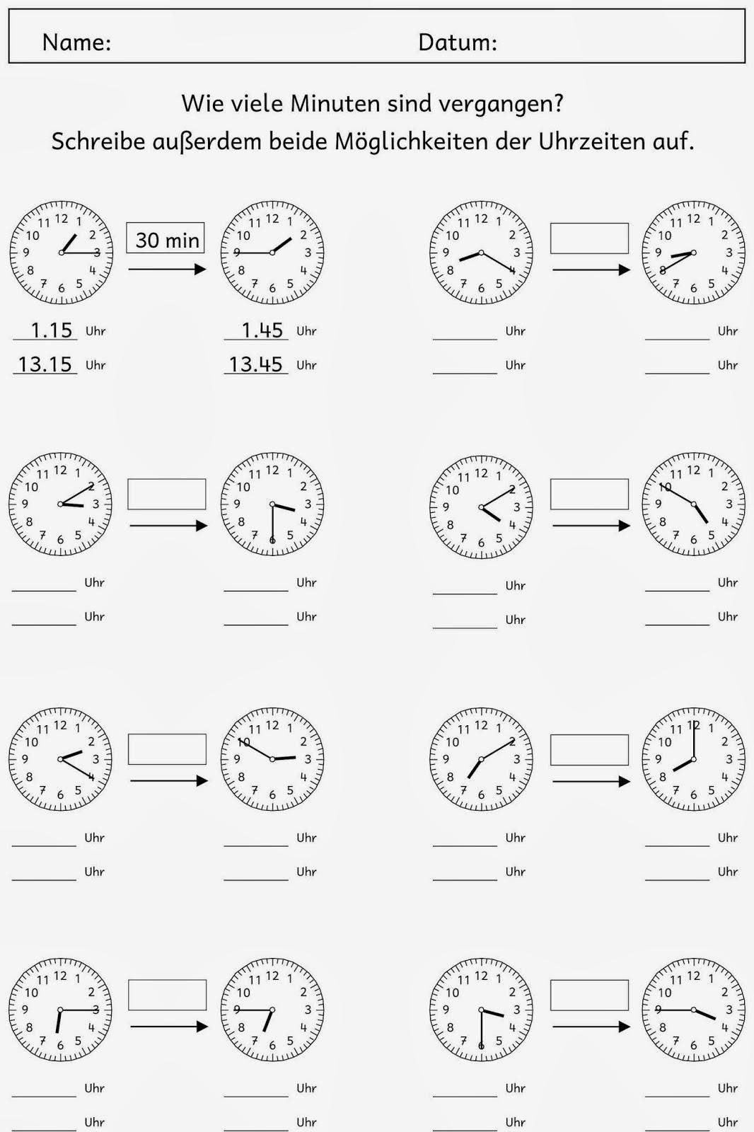 Arbeitsblatt Uhrzeit Klasse : Arbeitsblatt vorschule uhrzeit klasse kostenlose