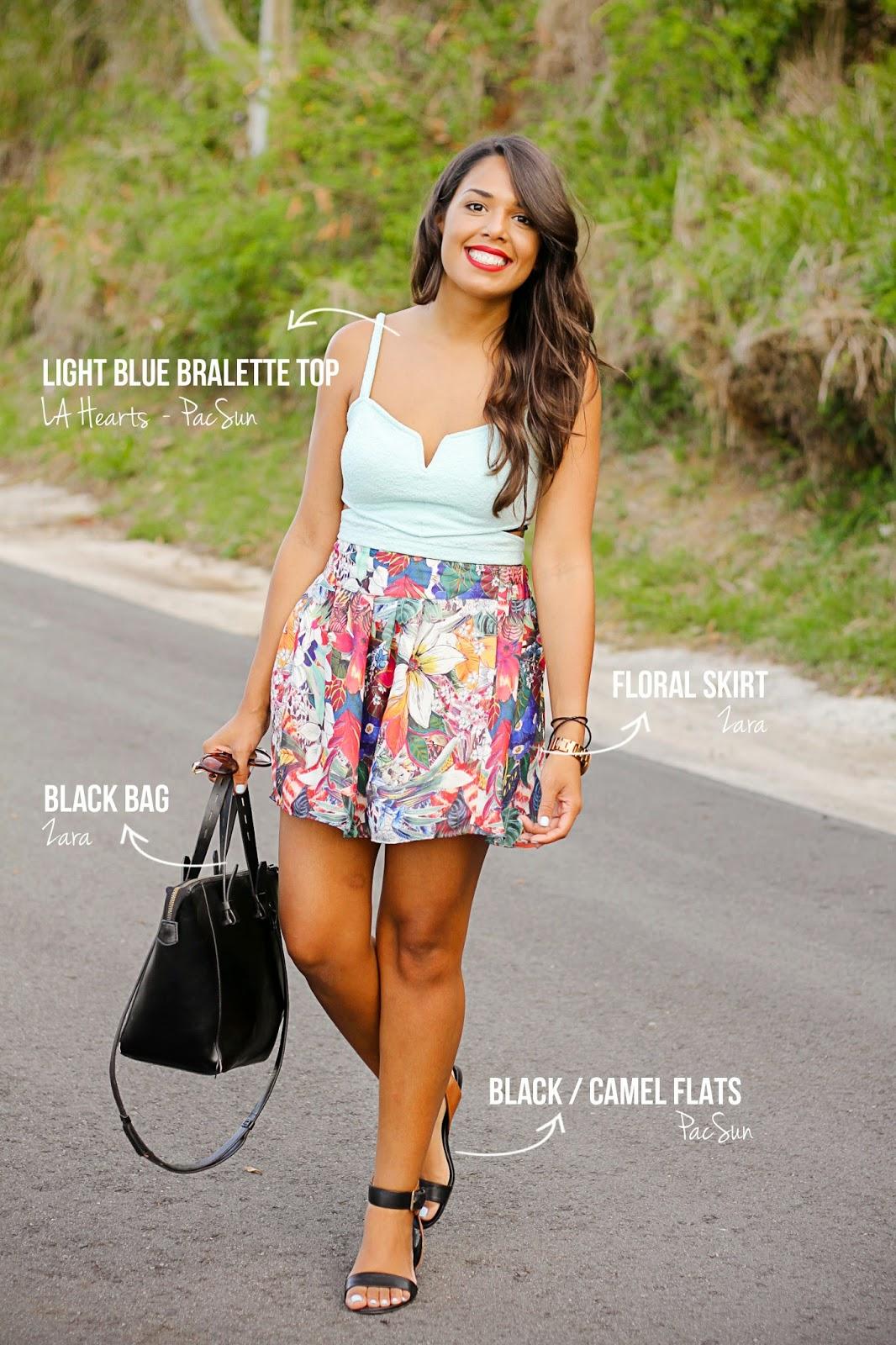 c8f827be91 Bralette Top - PACSUN   Floral Skirt - Zara (similar) · Black Bag ...