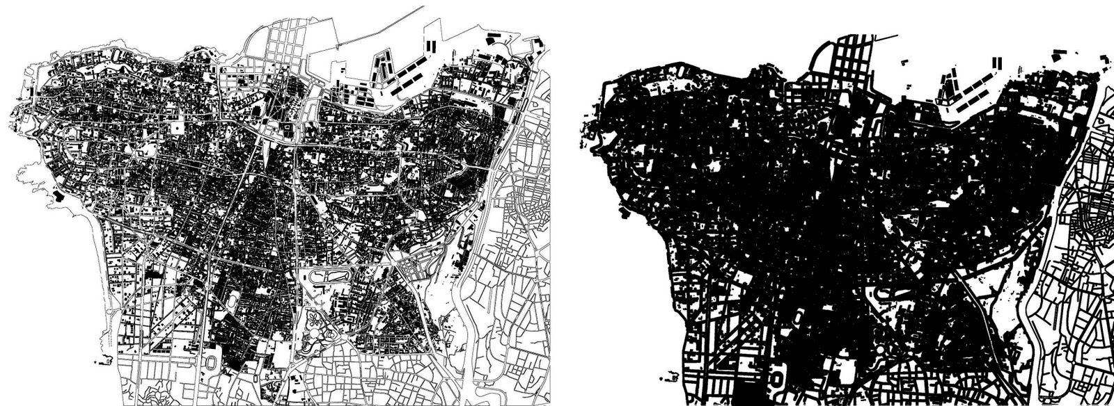 beirut the fantastic get me out of this traffic jam it is deceiving to look at beiruts map its streets empty therefor the second map depicts the reality of the mass versus void of the city