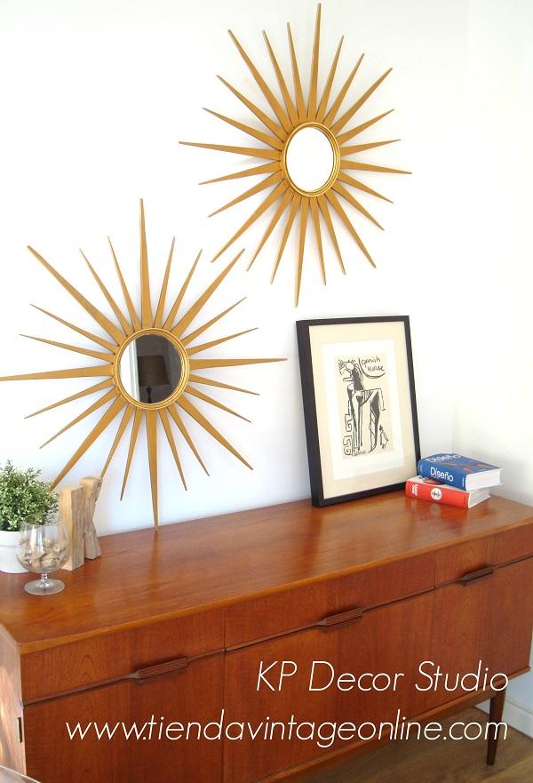 Espejos sol antiguos online. espejos vintage de madera con rayos dorados
