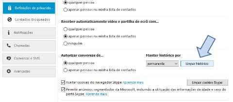 Como apagar o histórico do Skype