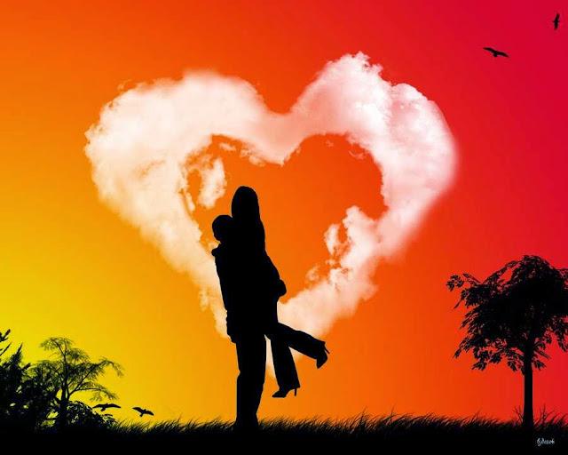 Gambar Orang Jatuh Cinta melihat Sunset