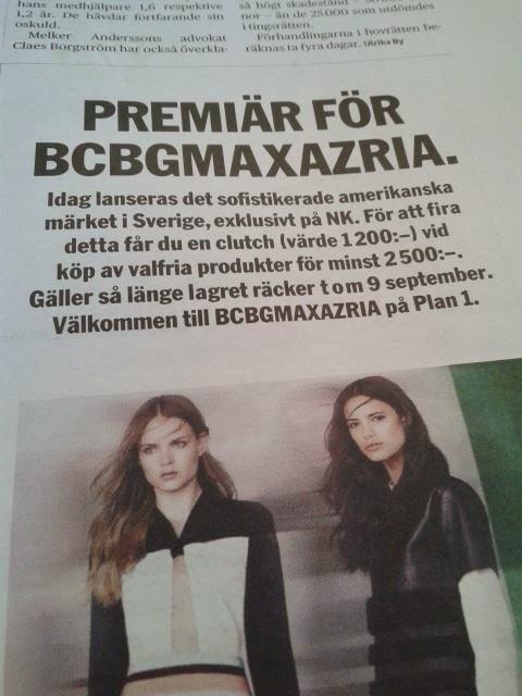 Bild på en annons som gör reklam för modemärket BCBGMAXAZRIA