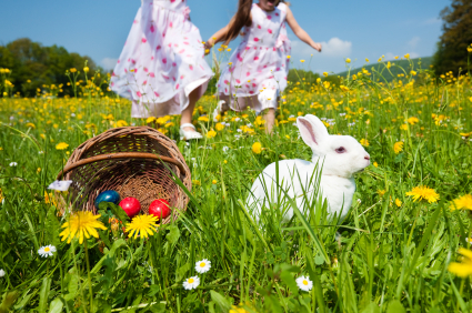 girls and easter bunny