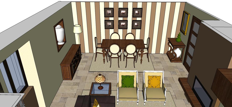 Los hogares que habitamos proyecto sal n comedor celia for Papel pintado salon marron