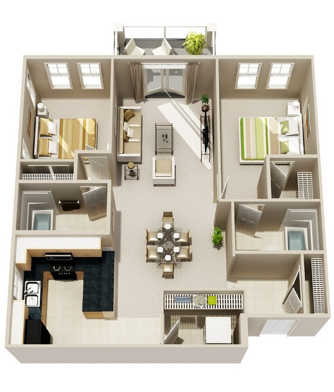 Two Bed Apartments 50 3d floor plans, lay-out designs for 2 bedroom house or apartment