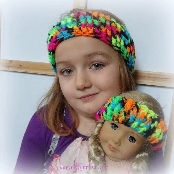#Crochet Free Crochet Pattern ~Dolly and Me Ear Warmers http://www.niftynnifer.com/2015/01/free-crochet-pattern-dolly-and-me-ear.html #Dolly #EarWarmers