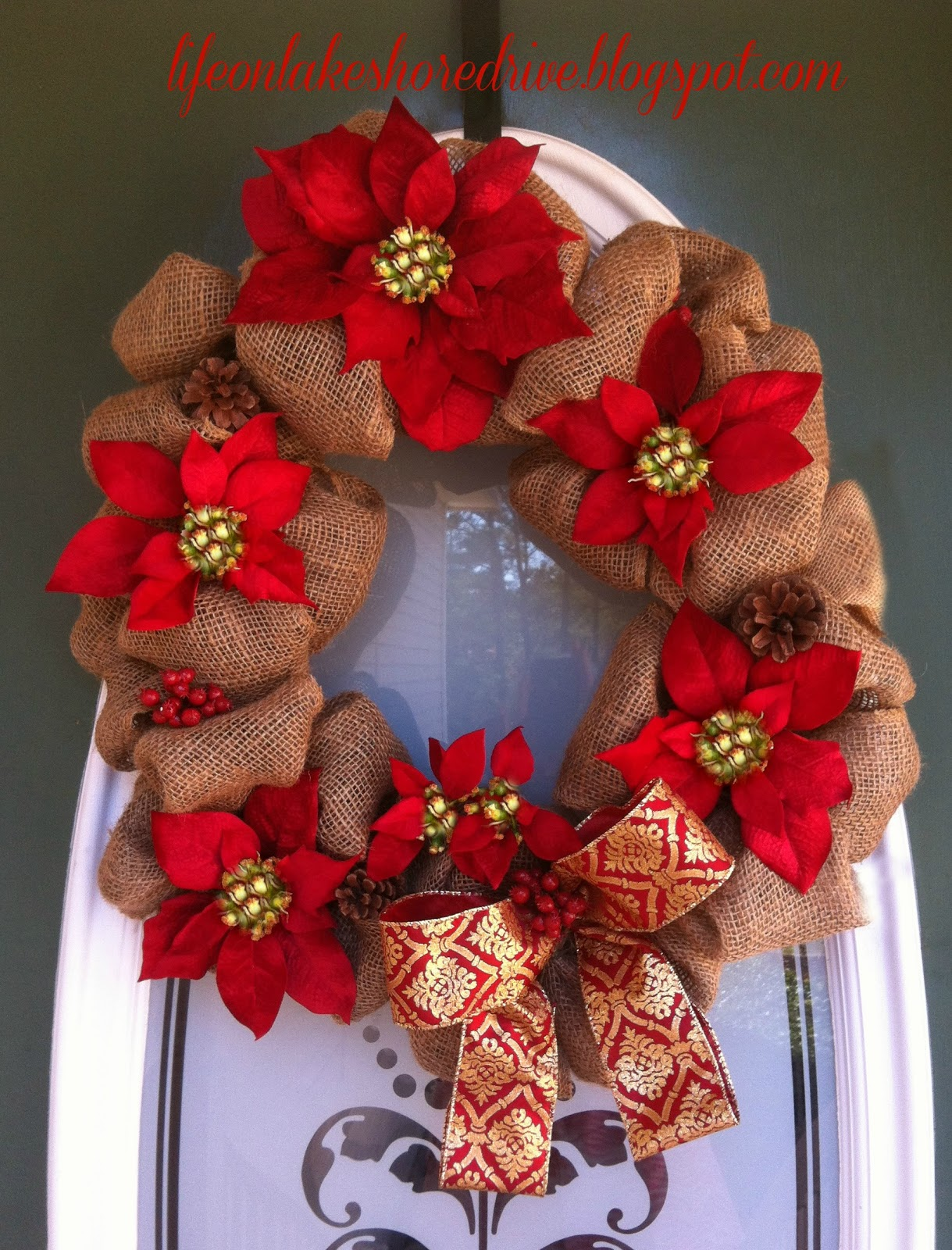 Christmas poinsettia burlap wreath life on lakeshore drive Burlap xmas wreath