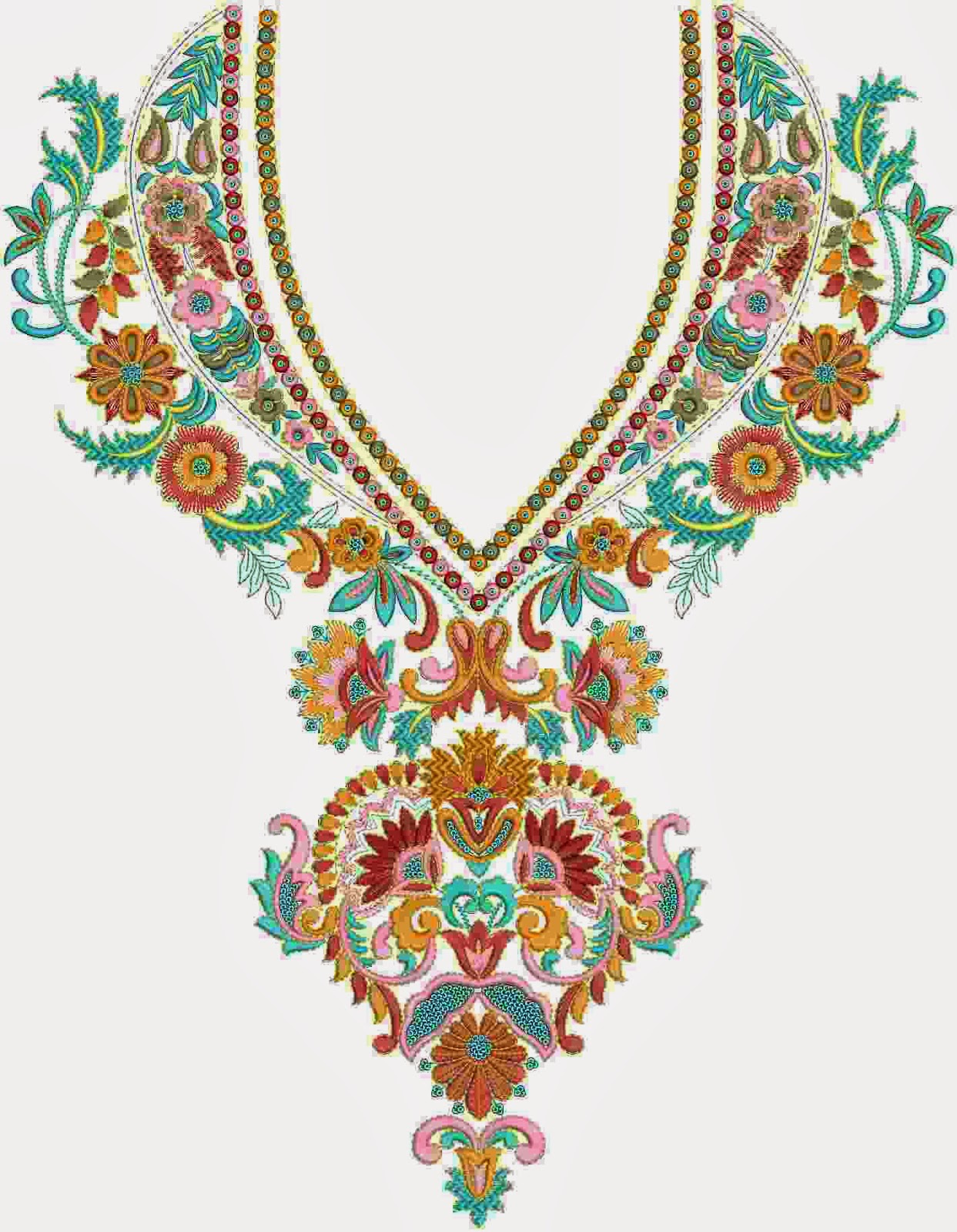 Embdesigntube: Neck Yoke Gala Embroidery Designs Of Kameez Dresses