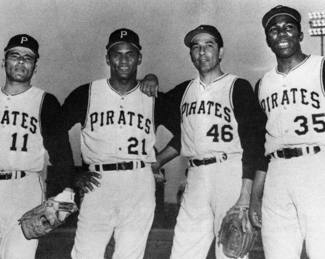 Orlando Pena (with Jose Pagan, Roberto Clemente, & Manny Sanguillen) 1970