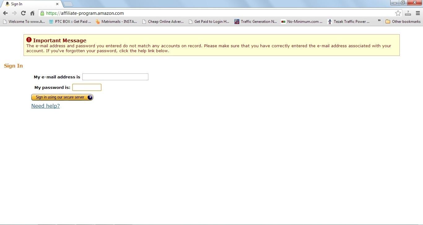 amazon affiliate login
