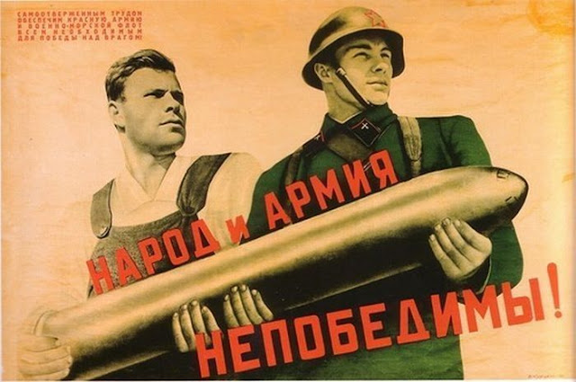 Soviet military posters of times of World War II. The people and the army invincible