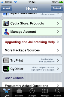 Cydia Home Screen