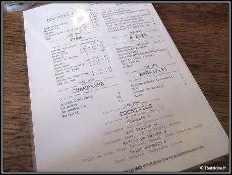 nouveau resto bistrot Poulette rue Etienne Marcel Paris menu carte bar boissons