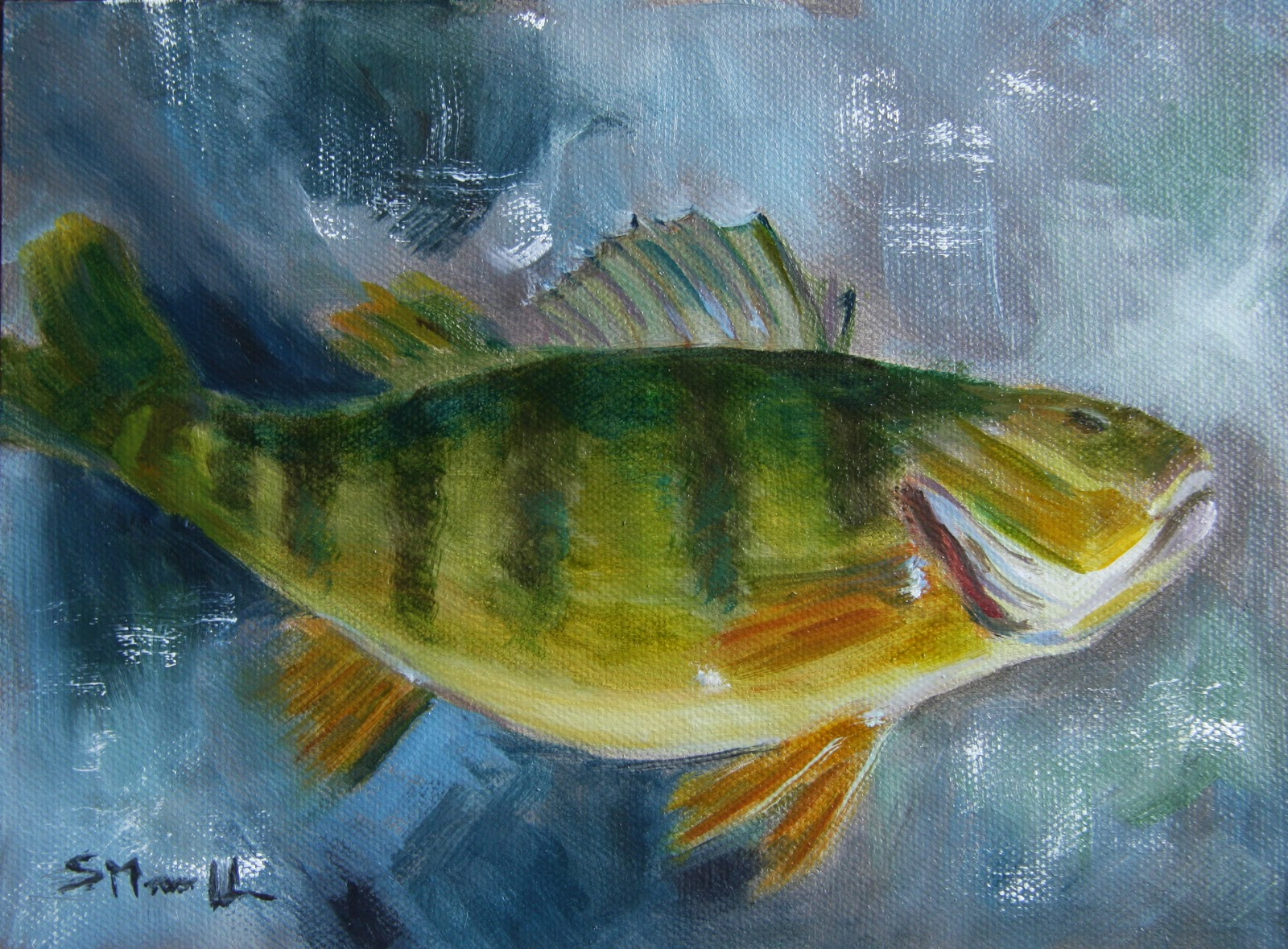 Daily painters of pennsylvania yellow perch by susie morrell for Hubbard lake mi fishing