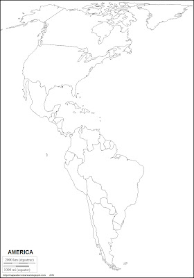 Mapa mudo de America, division politica de America