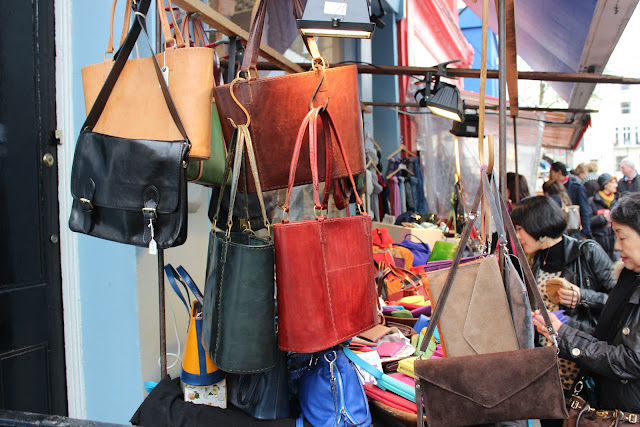 leather bags in Portobello Market