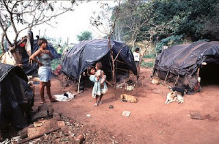 Guarani makeshift camp in Brazil