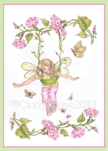 original design by Cindy Rippe - all rights reserved, Fairy, Pink, Pen & Ink Sketch with mixed media color, pink morning glories, Florals-Family-Faith, Cindy Rippe