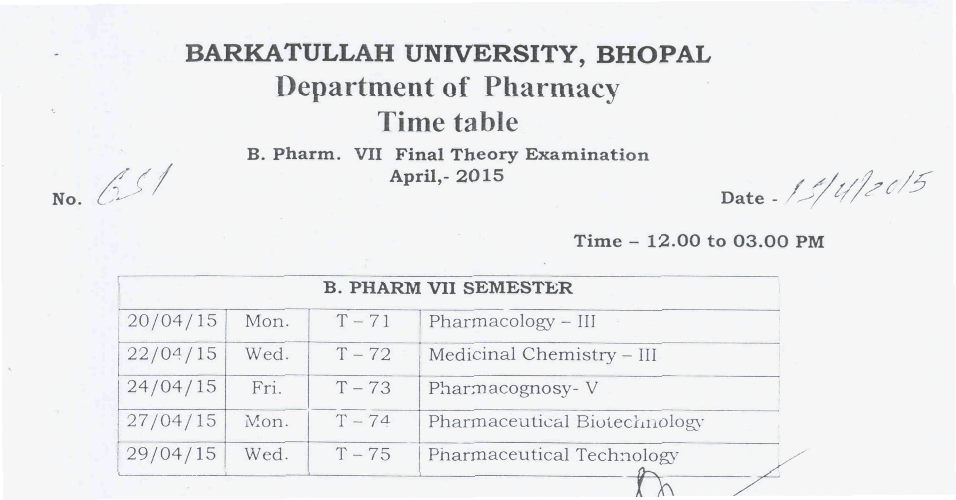 Barkatullah University B.Pharm Sem 7 Timetable