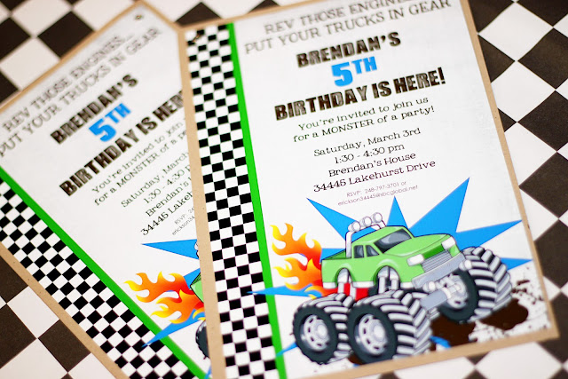 amanda's parties to go monster truck party, party invitations