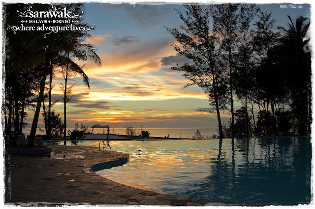 Sunset view overlooking the pool towards the island of Satang; part of Talang Satang National
