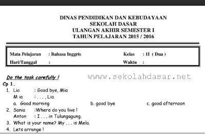 Soal UAS Bahasa Inggris Semester 1 Kelas 2 SD/MI