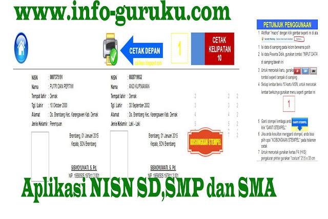 Aplikasi Kartu NISN Sederhana dengan Format Excel