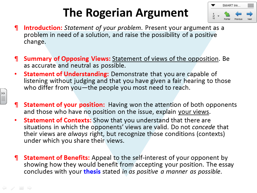 rogerian argument thesis statement Free rogerian argument rogerian arguments argument in an essay - argument can be defined as claim or thesis statement the aim of an argument is.