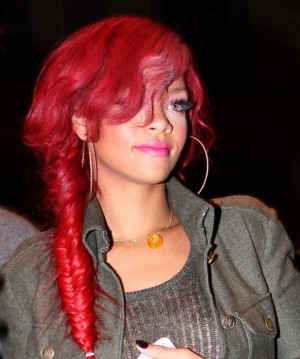 rihanna flaming red fishtail short hair plait elongated with bow