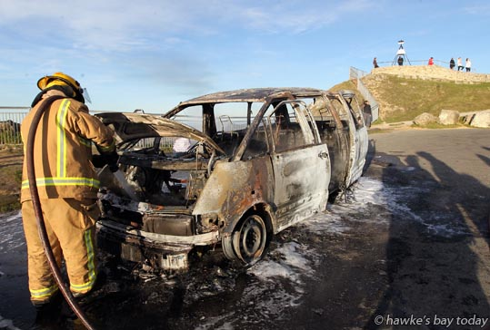 Car fire at the top of Te Mata Peak, Havelock North. The car was owned by Tali Notoa, Flaxmere, Hastings, who had taken his friends up the Peak for some sight-seeing. Havelock North Volunteer Fire Brigade attended. photograph